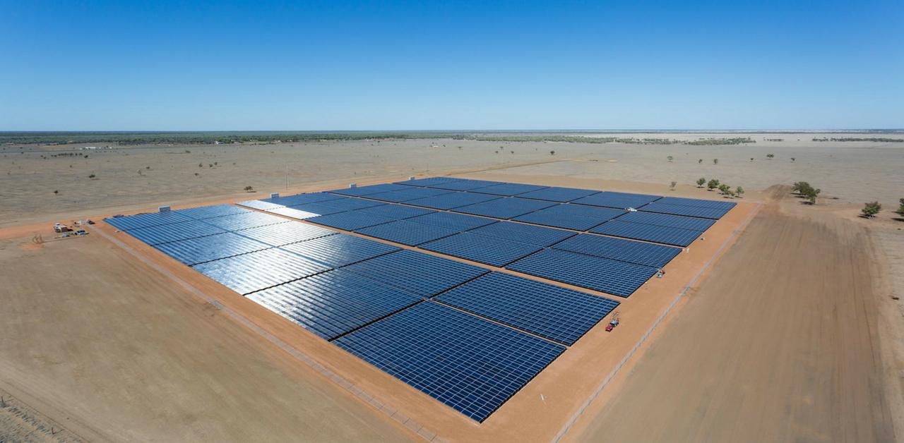 Aerial view of Dunblane Solar Farm, Barcaldine, Australia